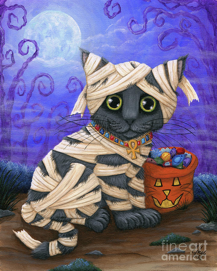 Lil Mummy Kitten - Halloween Cat - Russian Blue by Carrie Hawks