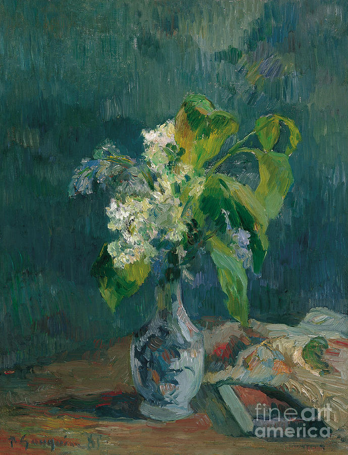 Lilacs, 1885. Artist Gauguin, Paul Drawing by Heritage Images
