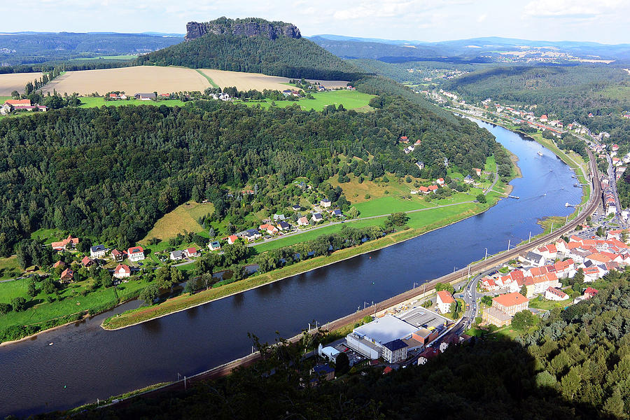 Koenigstein Photograph - Lilienstein and the Elbe River by Two Small Potatoes