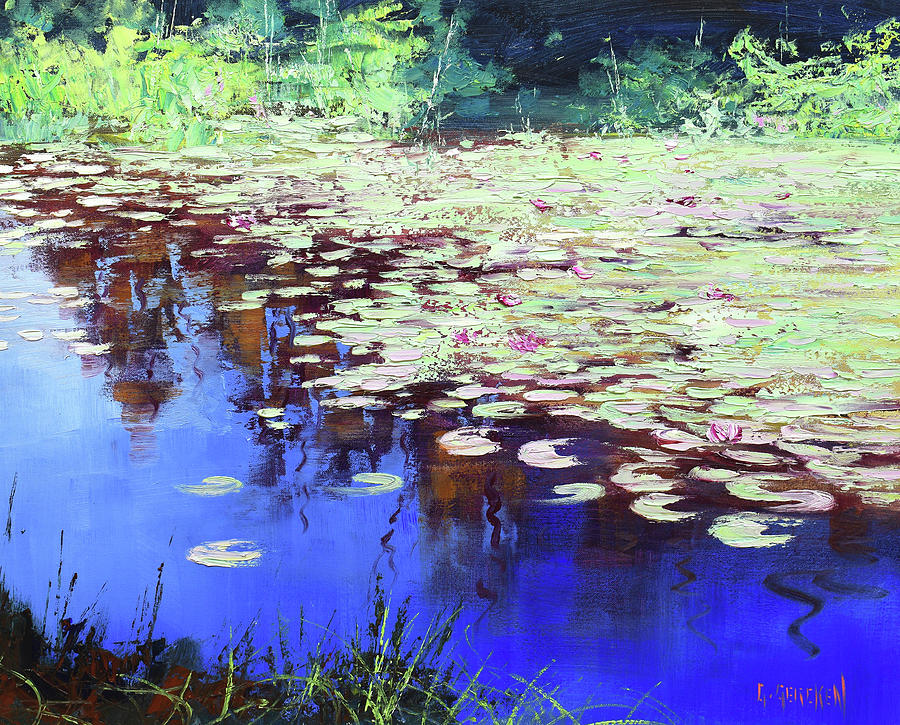 Lilies On Blue Water Painting