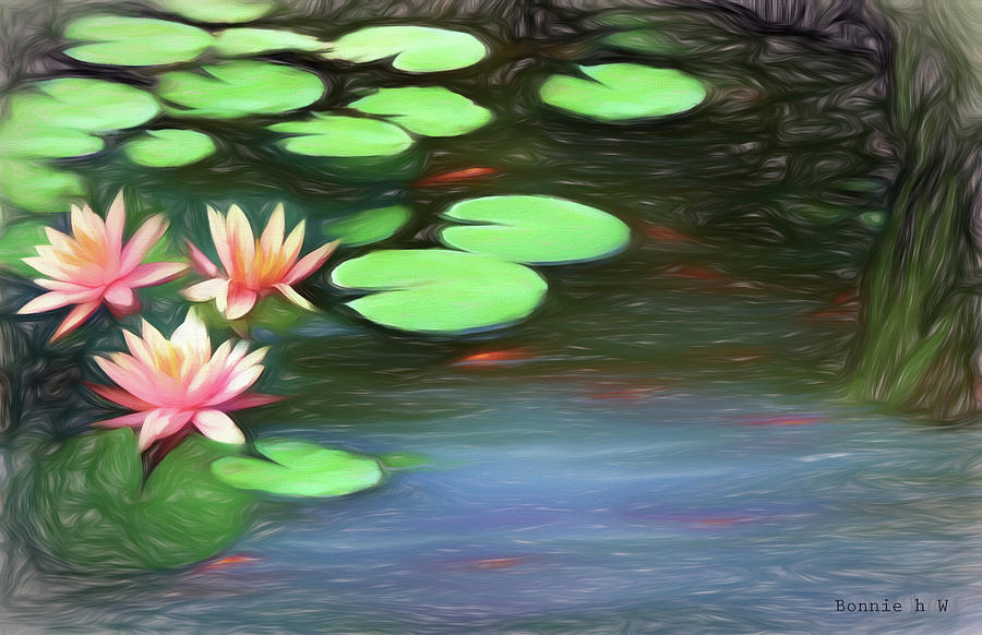 Lily Pads in bloom by Bonnie Willis