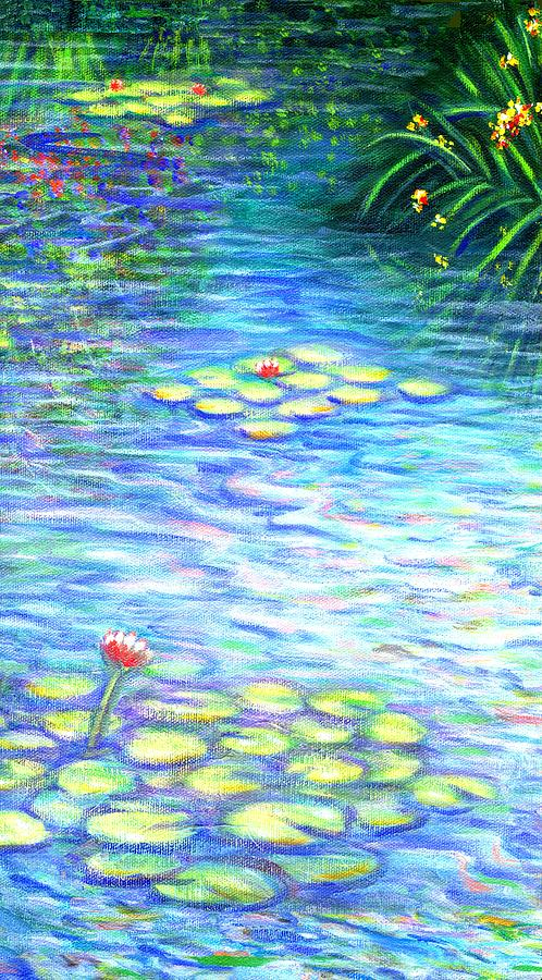 Lily Pads Painting - Lily Pads Triptych Panel Two of Three by Linda Mears