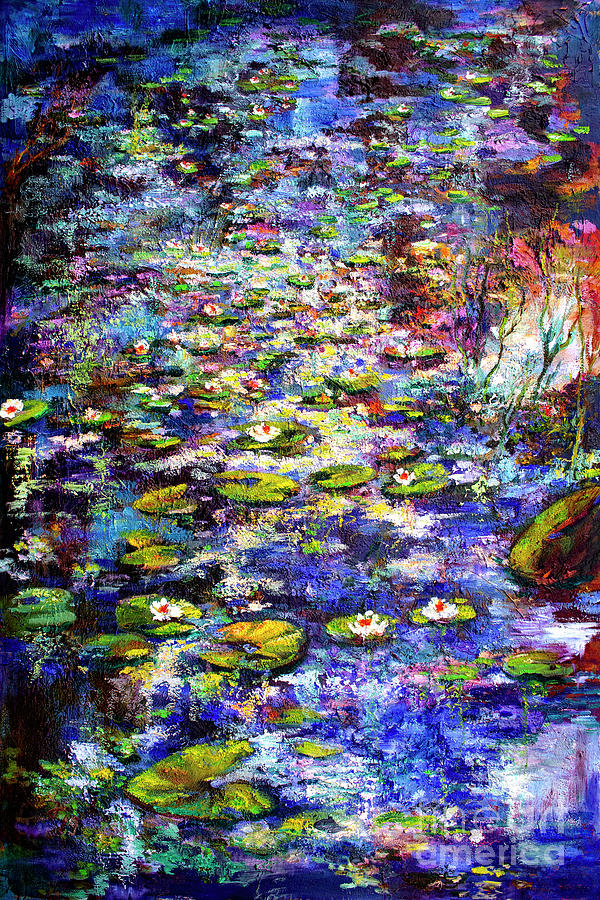 Lily  Pond impressions Oil Painting by Ginette Callaway