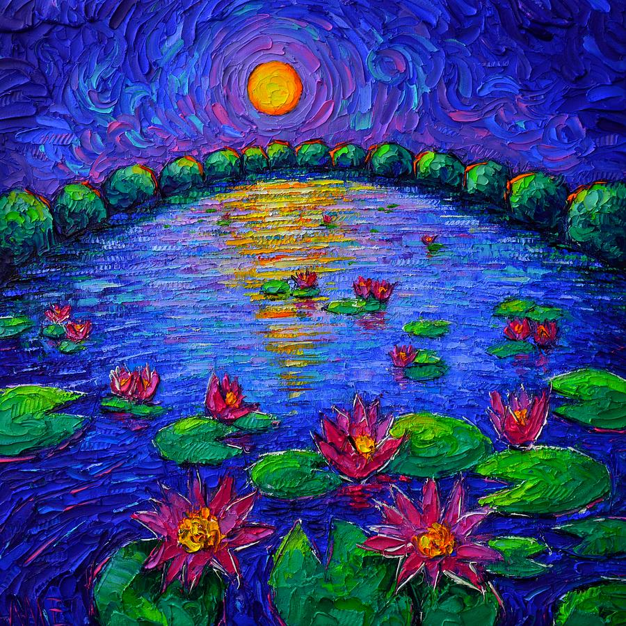 LILY POND MYSTIC NIGHT abstract roundscape moon art impasto knife oil painting by Ana Maria Edulescu by ANA MARIA EDULESCU