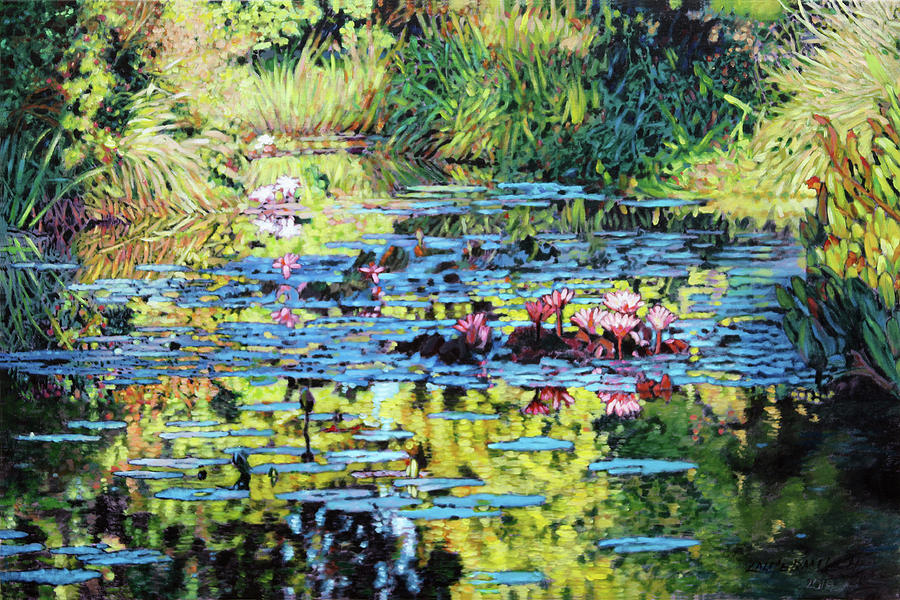 Garden Pond Painting - Lily Pond Sunspots by John Lautermilch