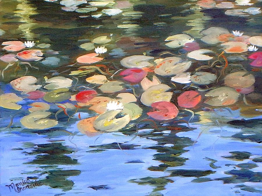 Original Painting - Lily Reflections by Monica Ironside