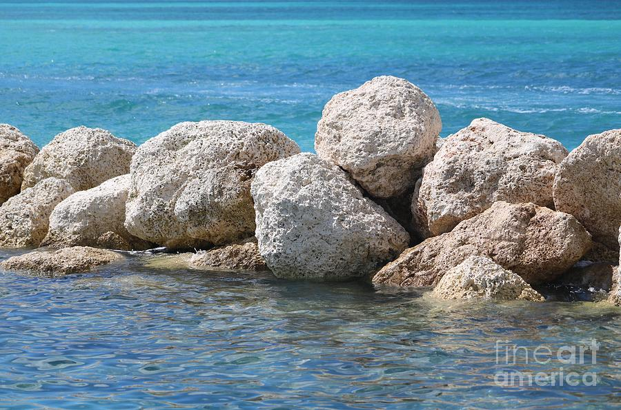 Limestone Boulders in Bahamas Blue by Carol Groenen