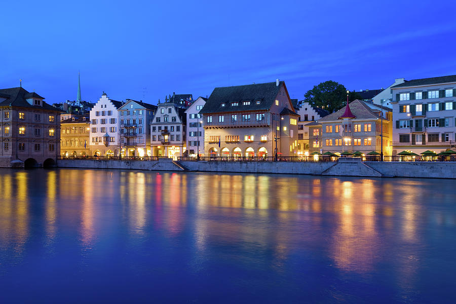 Limmat River Waterfront In Downtown Photograph by Benedek