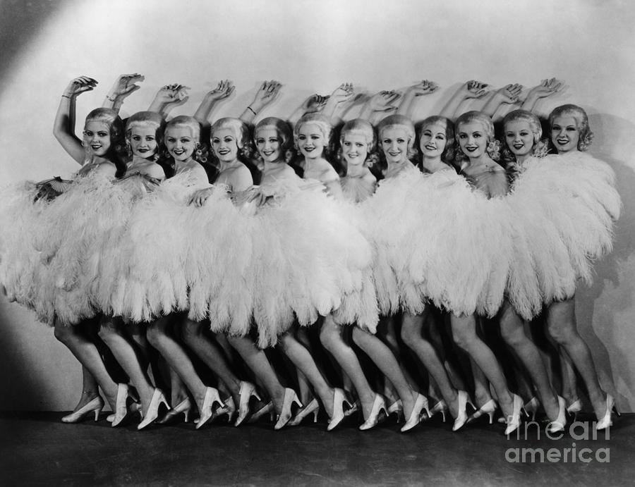 Line Of Chorus Girls In Feathered Photograph by Bettmann