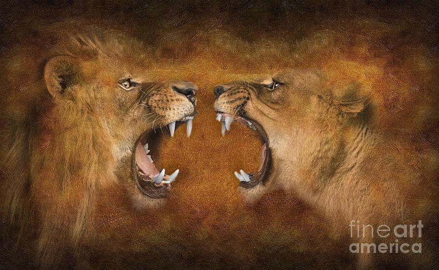 Lion And Lioness 03 Digital Art