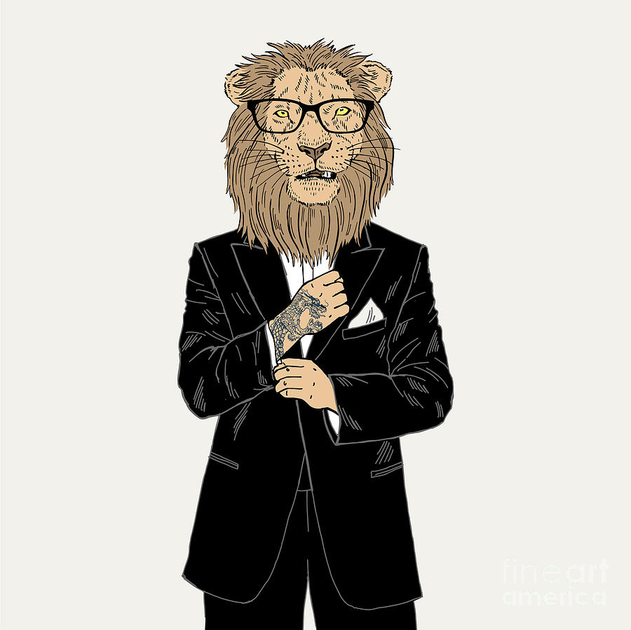 Dress Digital Art - Lion Dressed Up In Tuxedo With Tattoo by Olga angelloz