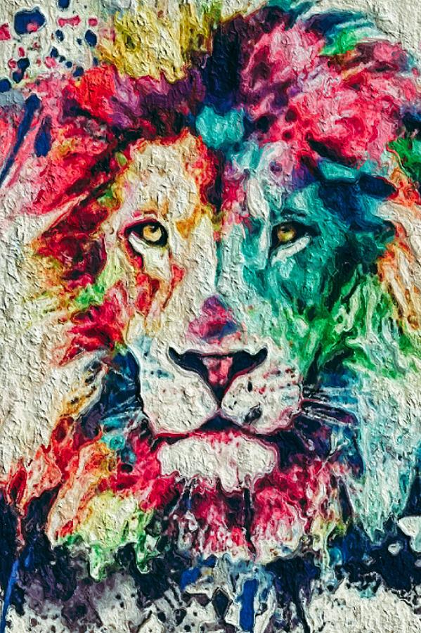 Lion Heart Abstract Painting Animals Collection