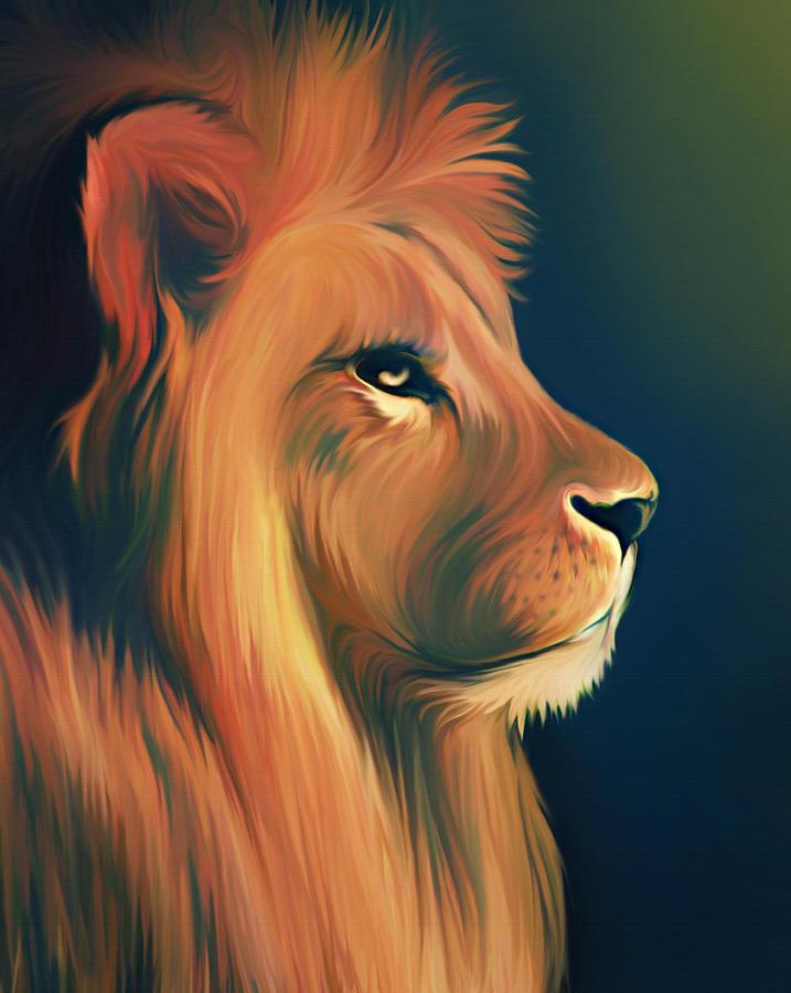 Lion Illustration Digital Art by Illustration By Shannon Posedenti