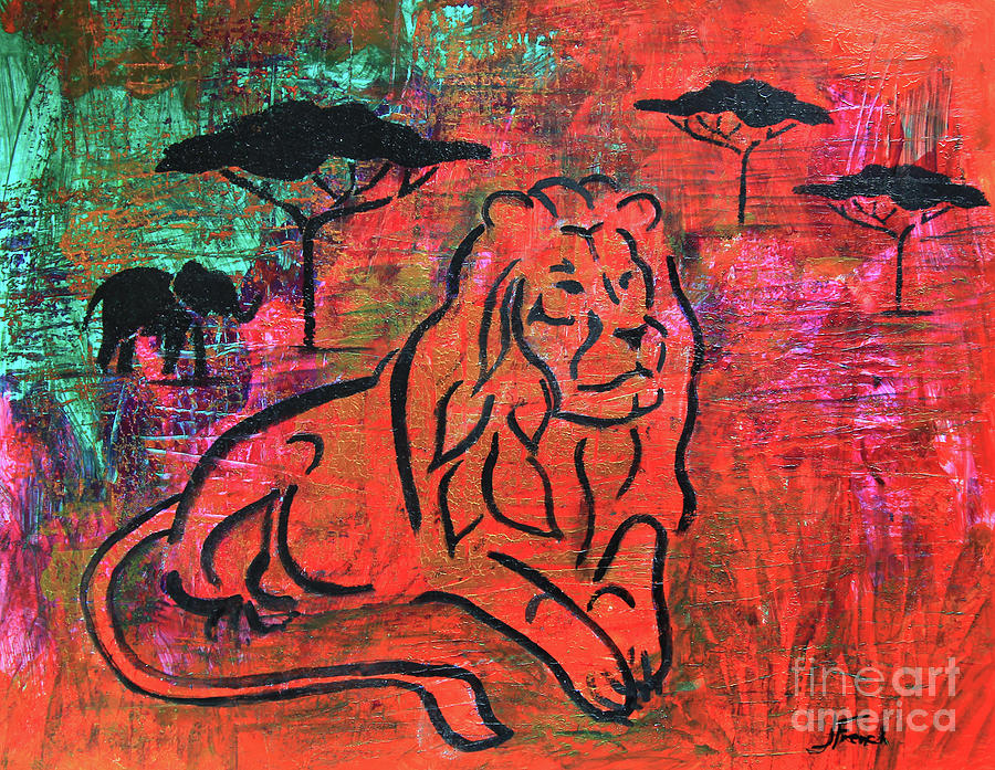 Lion in the Grass by Jeanette French
