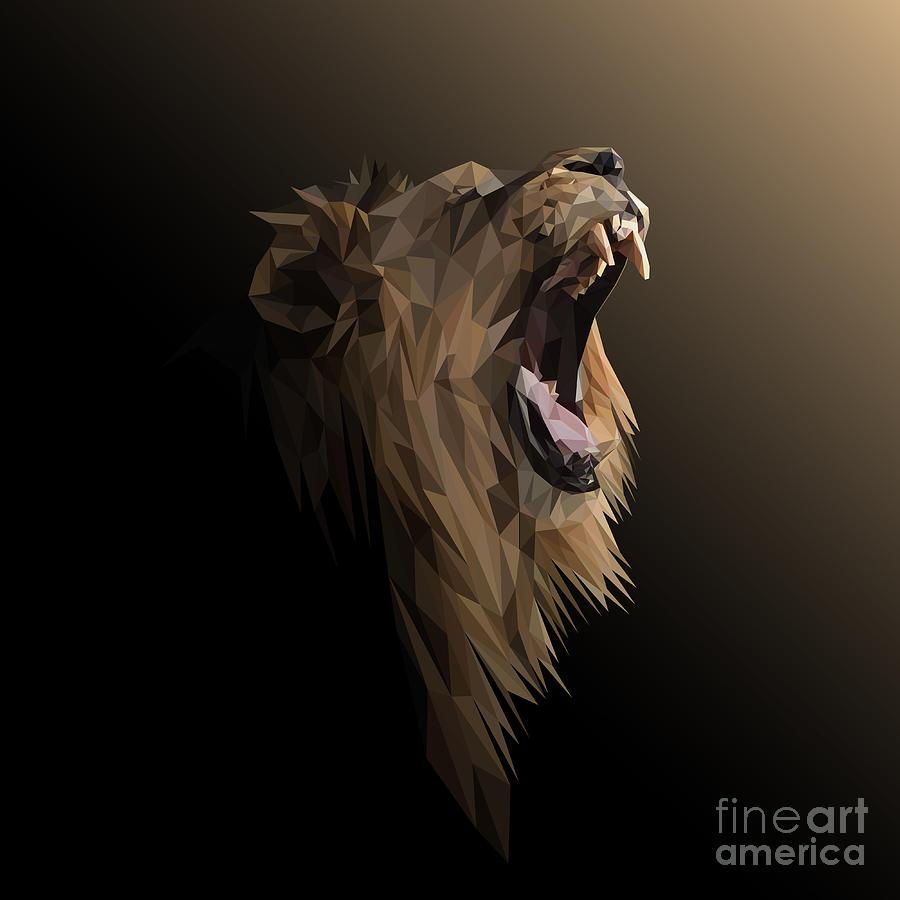 Lion Low Poly Design. Triangle Vector Digital Art by Shekularaz
