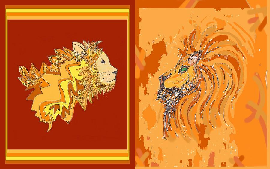 Lion Drawing - Lion Pair Hot by Julia Woodman