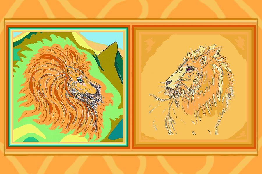 Lion Drawing - Lion Pair Warm by Julia Woodman