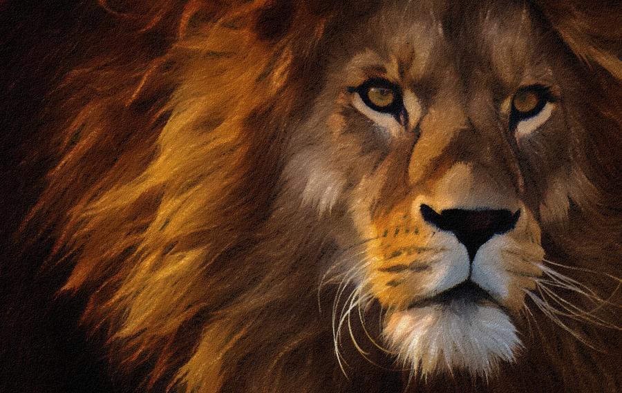 Lion Painting - Lion Portrait by Vincent Monozlay