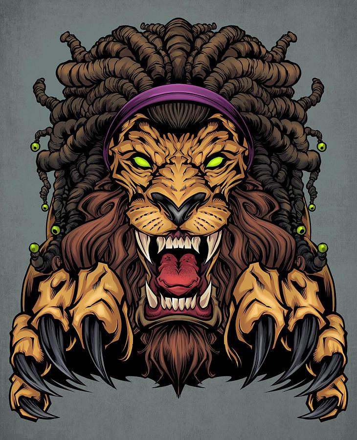 Animals Digital Art - Lion With Dreadlocks by Flyland Designs