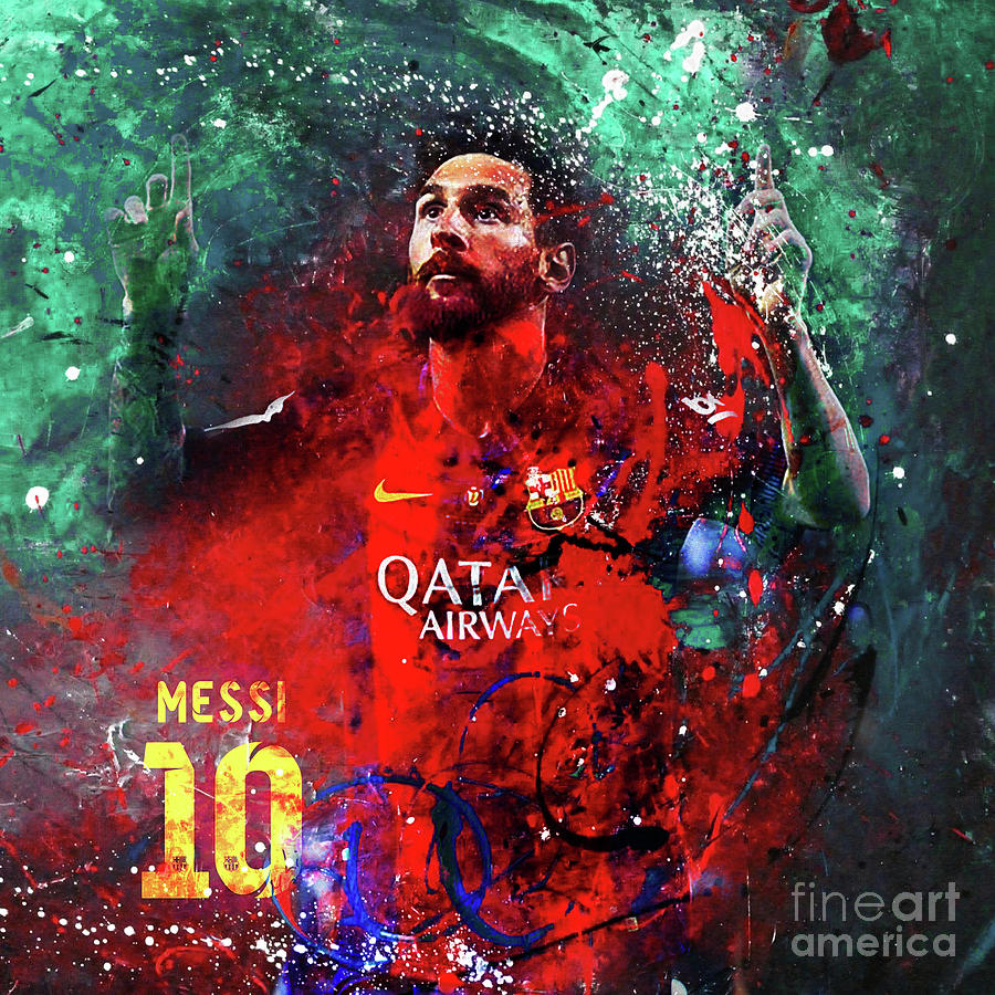 Messi Painting - Lionel Messi In Barcelona Kit by Gull G