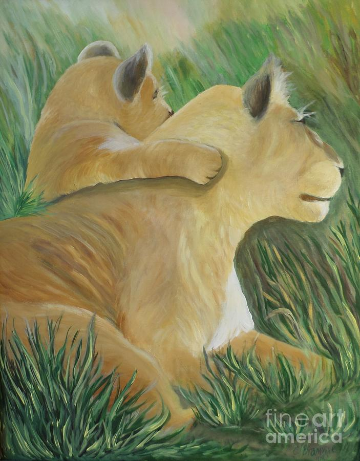 Lioness And Cub Painting