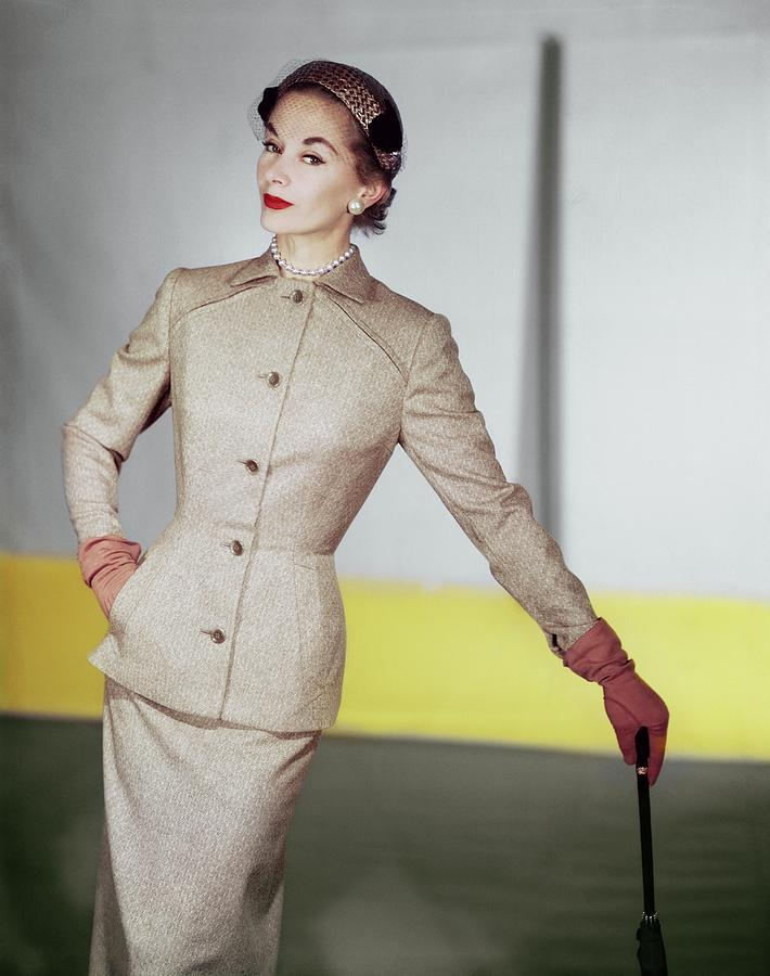Skirt Suit Photograph - Lisa Fonssagrives Wearing A Vogue Patterns Suit by Horst P. Horst