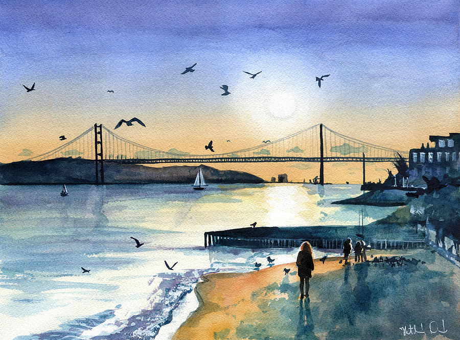 Lisbon 25 Abril Bridge at Dusk by Dora Hathazi Mendes