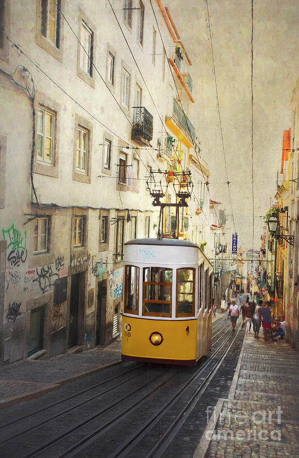 Lisbon yellow tram by Elena Nosyreva
