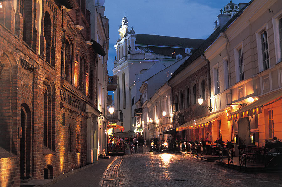Lithuania, Vilnius, Illuminated Street Photograph by Peter Adams