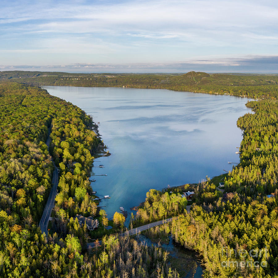 Sleeping Bear Dunes Photograph - Litte Traverse Lake Aerial Square by Twenty Two North Photography