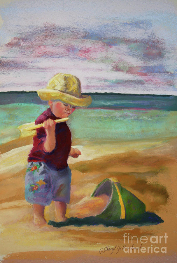 Little Boy Pastel - Little Beach Boy by Cheryl Yellowhawk