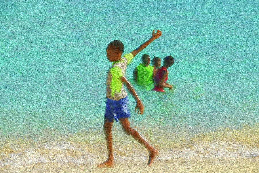 Little Boy At The Beach At Rendezvous Bay In Anguilla Photograph