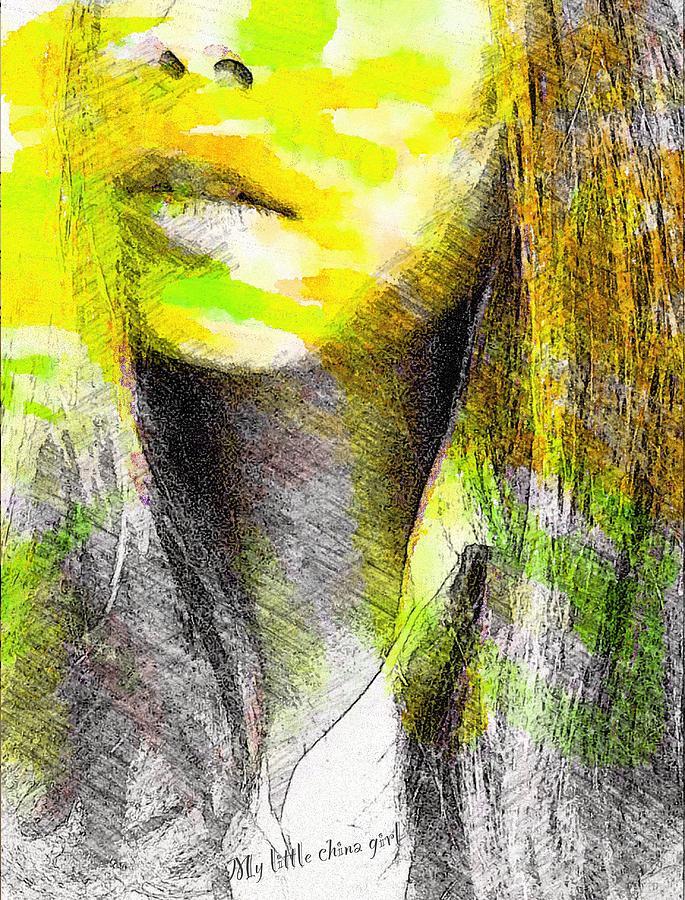 Girl Mixed Media - Little China Girl by Steve K