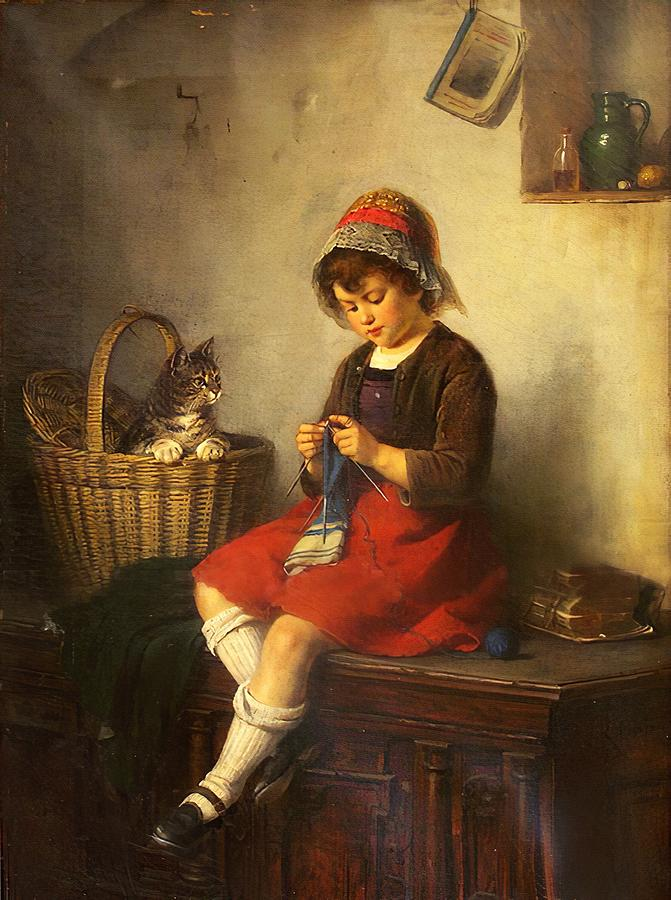 Little Girl and Her Cat by Rudolf Epp