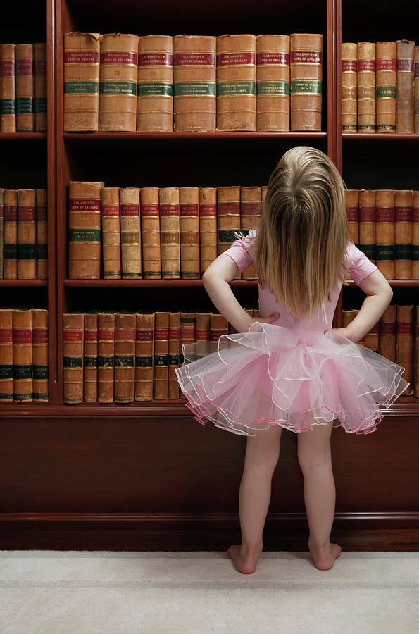 Little Girl In Tutu Reading Book Covers Photograph by Compassionate Eye Foundation/barry Calhoun