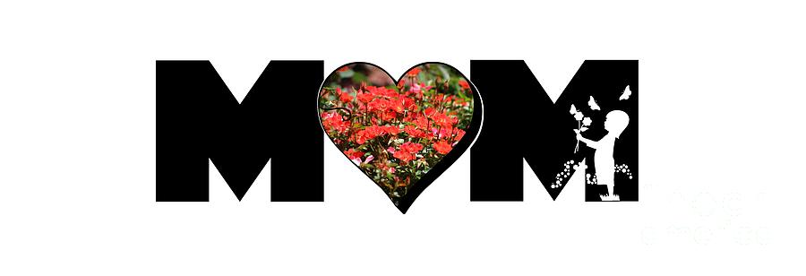 Little Girl Silhouette in Mom Big Letter with Cluster of Red Roses in Heart by Colleen Cornelius