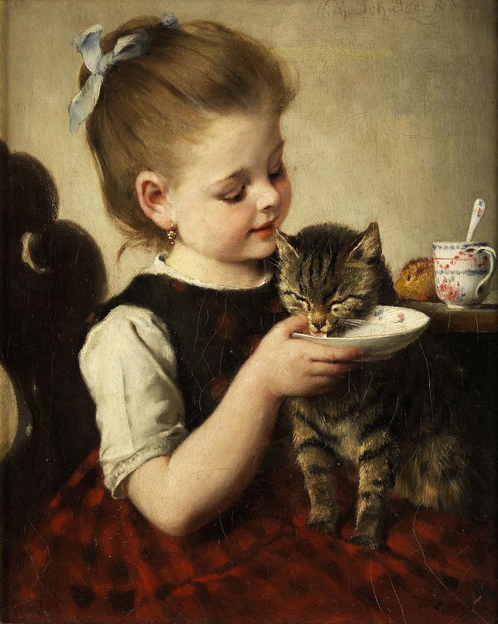 Little Girl with a Kitten by Johann Wilhelm Schuetze