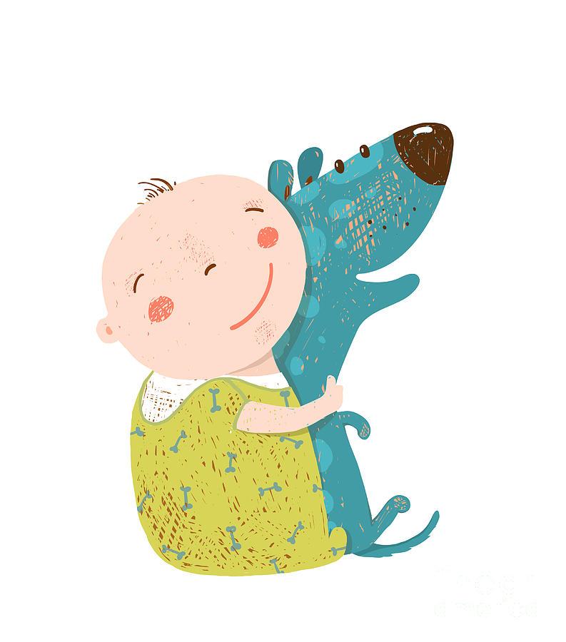 Love Digital Art - Little Kid Hugs Dog Best Happy Friends by Popmarleo