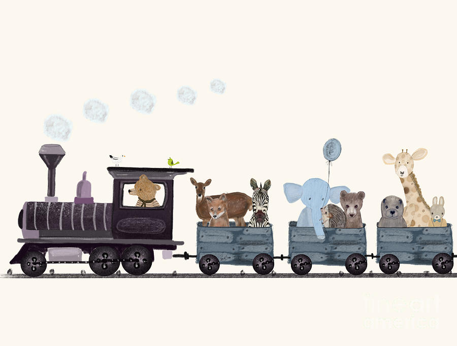 Baby Nursery Decor Painting - Little Nature Train by Bri Buckley