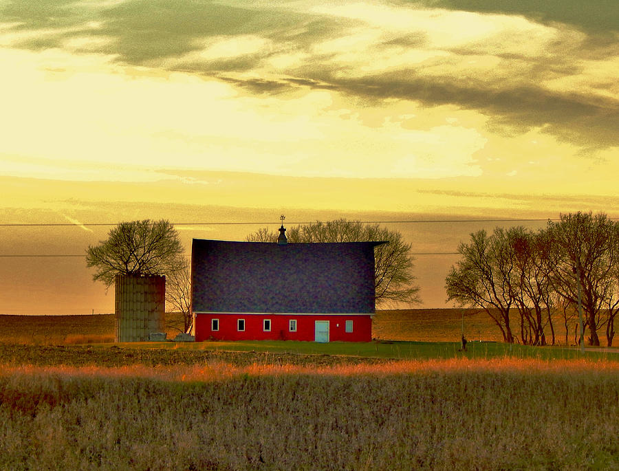 Little Red Barn And Silo With A Tree Photograph