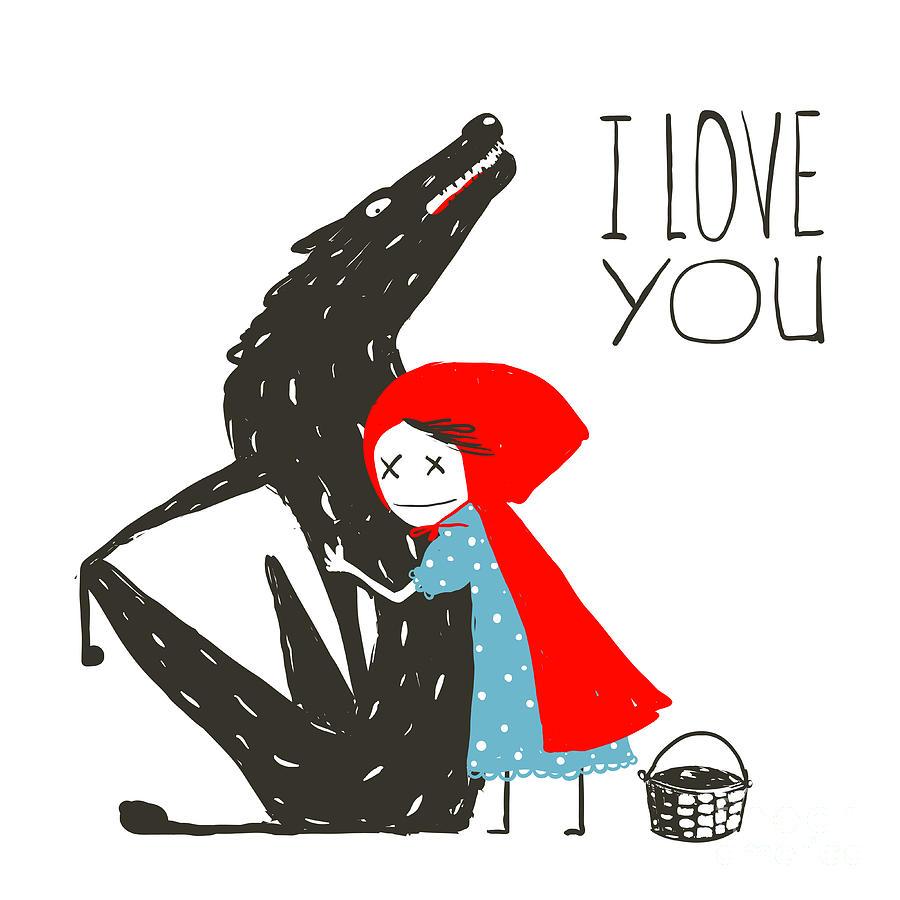 Basket Digital Art - Little Red Riding Hood Loves Black by Popmarleo