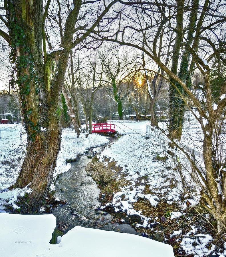 2d Photograph - Little Red Walk Bridge by Brian Wallace