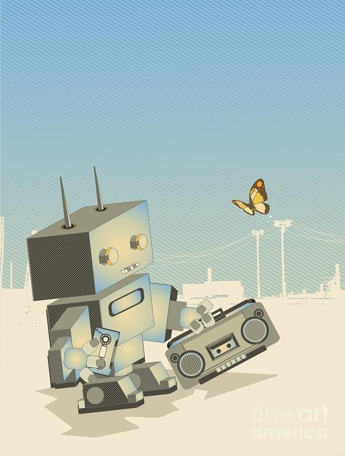 Blot Digital Art - Little Retro Robot With A by Gudron