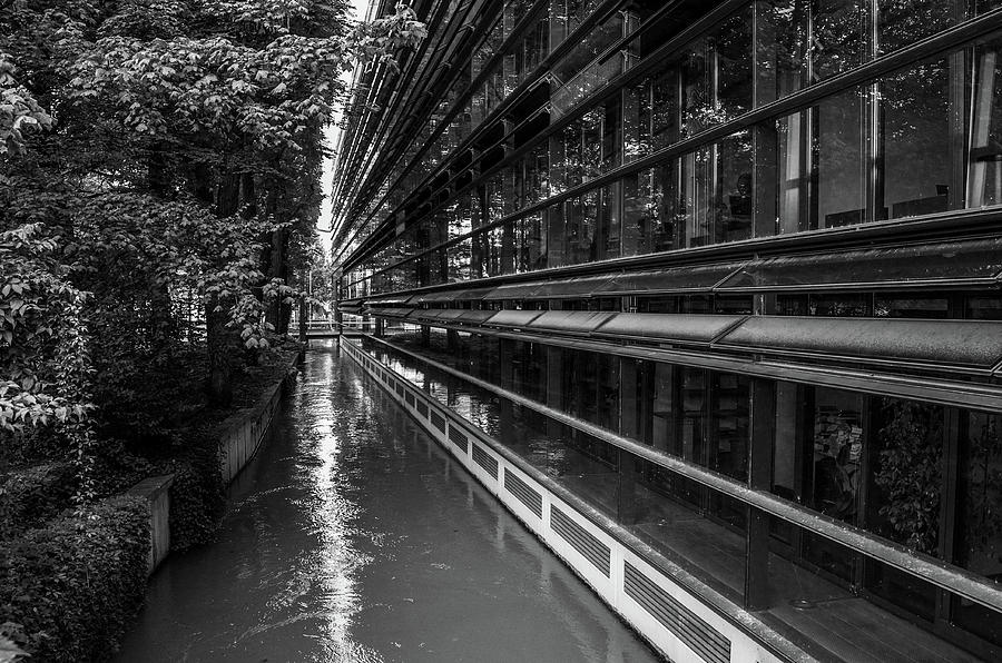 Architecture Photograph - Little River, Big Building by Borja Robles