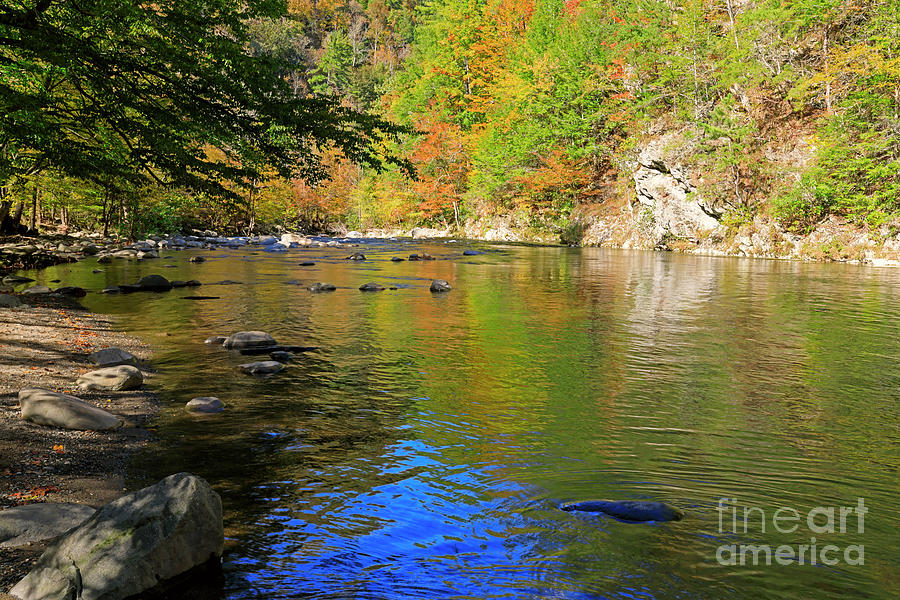 Little River Photograph - Little River In Autumn In Smoky Mountains National Park by Louise Heusinkveld