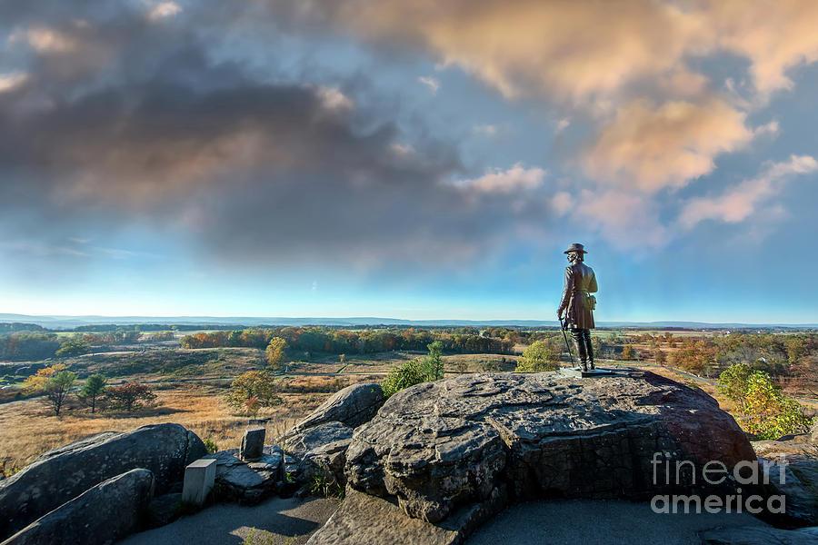 Little Round Top Memorial on the Gettysburg Battlefield during Autumn by Patrick Wolf