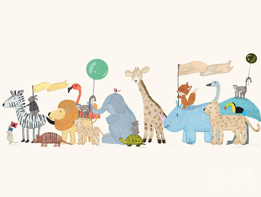 Childrens Painting - Little Safari Parade by Bri Buckley