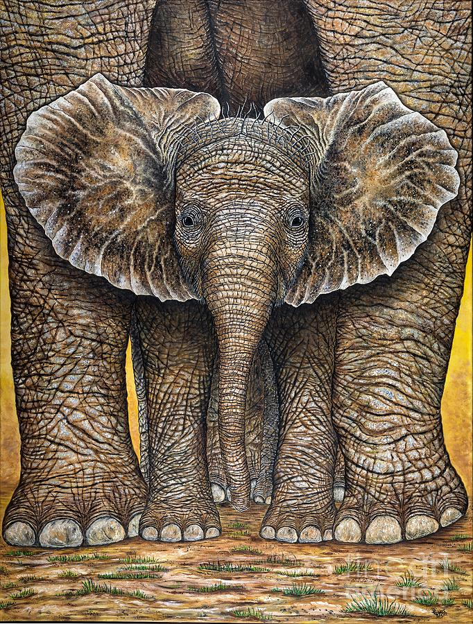 Baby Elephant Painting - Little Trumpet by Donna L Byers