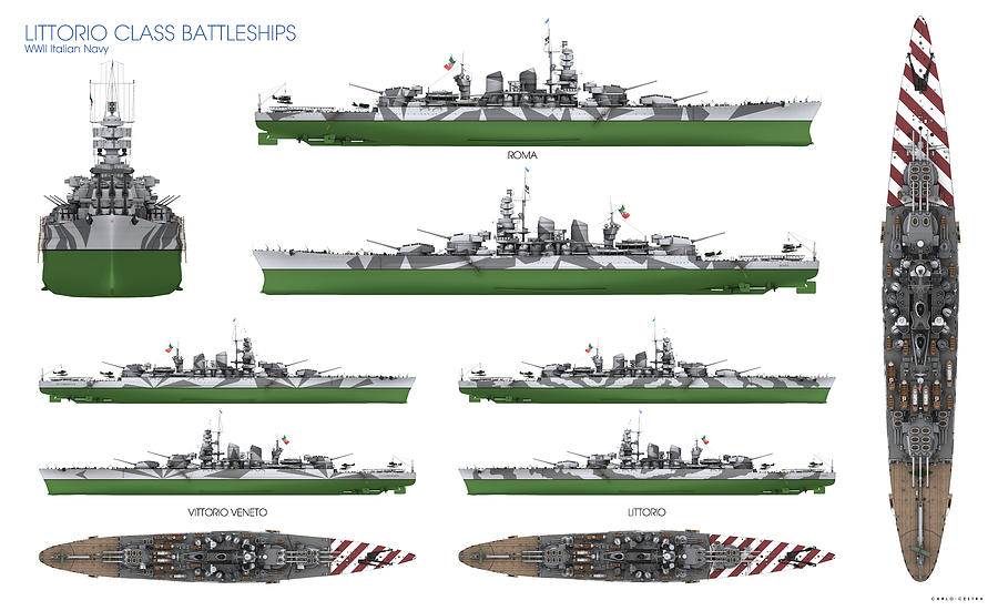 Battleship Digital Art - Littorio Class Battleships by Carlo Cestra