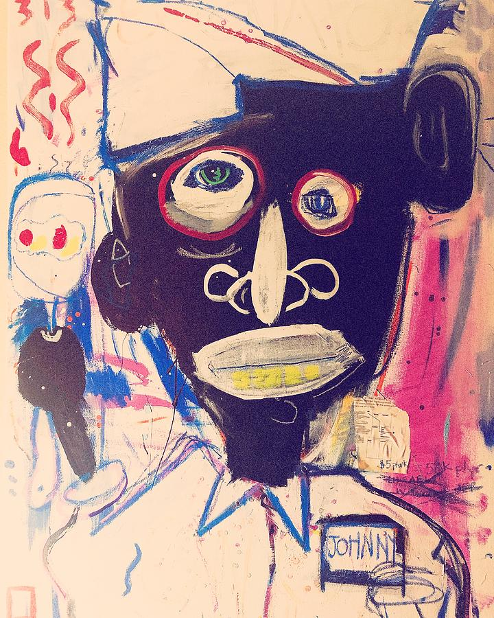 Basquiat Painting - Livable Wage Johnny by Kim Bell